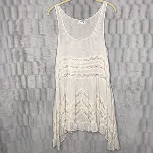 Free People Voile & And Lace Polka Dot Swing Tank
